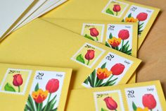 Tulip Postage Stationery Set Handmade Vintage by EdelweissPost, $31.00