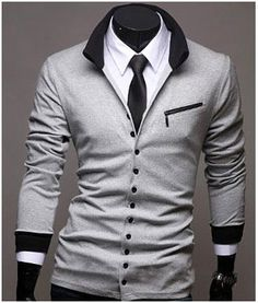Slimfit, long sleeved, men's cardigan. Contrast-colored V-neck collar and ribbed cuffs