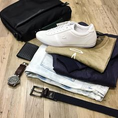 The close up and the details // Ted Baker jacket G-Star jeans NEW G-Star tee Politix belt Ted Baker messenger bag Lacoste trainers Hugo Boss wallet and Diesel watch.