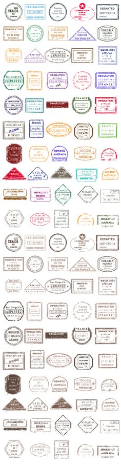 Designtnt - Vector Passport Stamps