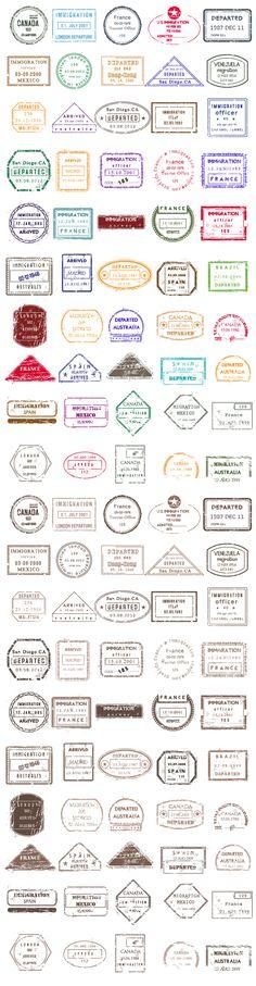 Designtnt - Vector Passport Stamps