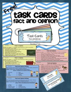 FREE Fact and Opinion Task Cards! These task cards are larger than normal (8 questions each) so students can work on just one card. More advanced students may complete more than one card. Great for literacy centers, early finishers and small group intervention!