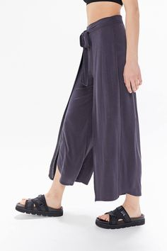 UO Cupro Split-Leg Wrap Pant | Urban Outfitters