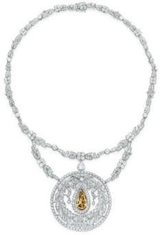 Belle Epoque necklace with yellowish-brown diamond, circa 1910. www.diamondconsignmentstore.com