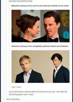 Benedict looking at Sophie vs. Sherlock looking at John (Johnlock) Sherlock Holmes Bbc, Sherlock Fandom, Sherlock John, Sherlock Quotes, Sherlock Cast, Johnlock, Mrs Hudson, Benedict Cumberbatch Sherlock, Gay