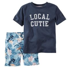 Make early mornings easy with a coordinating 2-piece outfit. This one's complete with tropical shorts and a cute tee.