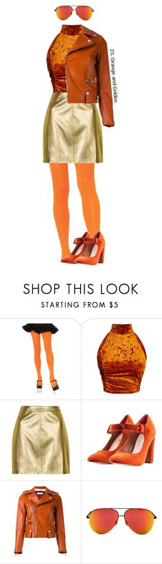 """Colors Challenge: Orange and Golden"" by annacastrolima ❤ liked on Polyvore featuring Leg Avenue, Topshop, Nasty Gal, Golden Goose, Victoria Beckham, 70s, orangeandgold, goldandorange, goldenandorange and orangeandgolden"