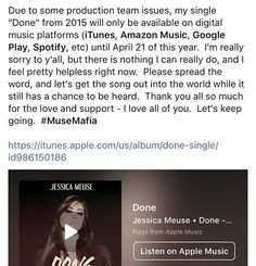 """It really bums me out to have to do this, #MuseMafia, but some people I trusted the most have turned out to be the rattlesnakes of the music industry. I recorded """"Done"""" after my run on @americanidol in 2014 and then released it with a small production team in LA in April 2015. I'm so proud of this song, and it truly breaks my heart that someone I really adored is trying to take it from me. This April 21, I will not be able to renew the independent distribution because I do not want to deal…"""