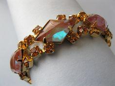 Saphiret (Saphirine) & Rhinestone bracelet c1950