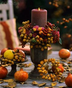 Fall Table - Pretty berry wreath around candle.