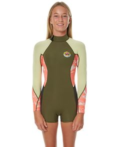 Features Type: Girls Springsuit  Colour: Multi Material: 90% Neoprene 10% Nylon Thickness: 2 mm Entry System: Back zip  Boy cut leg  Long sleeve Size + Fit Guide: Model's Height: 153 cm  Model's Waist: 61 cm Model's Hips: 72 cm Model wears a Size: 10 Temperature Guide: If you're not sure of the most appropriate thickness for your region, use the below as a guide against the average water temperature for the time of year you are buying the suit for. Remembe...