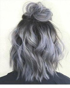 Silver gray ombre hair color ideas for short hair managed to supplant the burning red, cold blue and extravagant purple hair dye. This shade is quite, Hair Color Silver Ombre Hair, Ombre Hair Color, Gray Ombre, Gray Purple Hair, Blonde Ombre, Ash Grey Hair, Ash Hair, Purple Ombre, Dyed Gray Hair