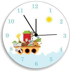 Noah's Ark, Nursery Wall Decor, Children Bedroom Wall Clock, Nursery Wall Art Kid O