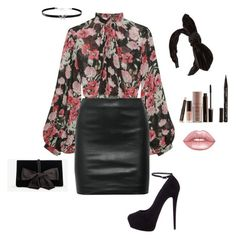 """""""Floral night"""" by sizzlefizzle on Polyvore featuring Jill Stuart, The Row, Giuseppe Zanotti, Ann Taylor, Laura Mercier, Smith & Cult, Lime Crime and Giani Bernini"""