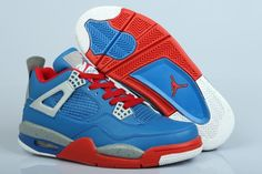 new product a4cea d2dbb JGoWSAax Air Jordan Retro 4 A Superman Blue Red Men s Shoes Cheap Jordan  Shoes,