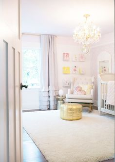 Pink and gold girl nursery: http://www.stylemepretty.com/living/2016/10/04/designing-a-girly-nursery-this-one-is-a-must-see/ Photography: Rebecca Dadson - http://www.rebeccadadson.com/