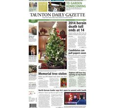 The front page of the Taunton Daily Gazette for Friday, Jan. 2, 2015.