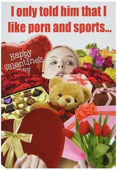 NobleWorks 2181 ''Porn and Sports'' Funny Valentine's Day Unique Greeting Card, 5' x 7' * Tried it! Love it! Click the image. : Valentine Gifts