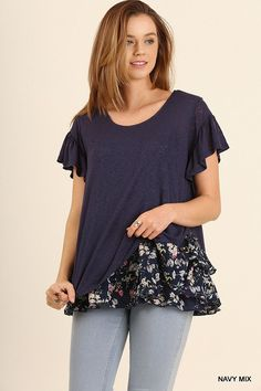 Floral Print Layered Hem Top - Navy Mix Love the sleeves