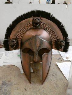 Cerberus Helmet Engraved on it Greek key Desing
