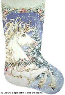 Unicorn Needlepoint Christmas Stocking