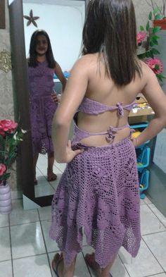 vestido de croche lilas #crochê #crochet