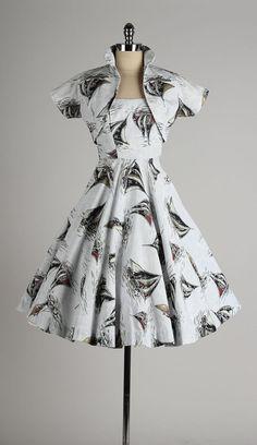 vintage 1950s dress . sailboat novelty print by millstreetvintage
