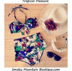 Tropical Pleasure Retro High Waist Swimsuit (Multi-Color Floral Top & Bottom) S/M - HW326 - Smoky Mountain Boutique | Smoky Mountain Boutiqu...