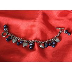 Vintage Italian Sterling Silver Heart Charm Bracelet with Blue Pearls ($50) ❤ liked on Polyvore featuring jewelry, bracelets, pearl jewelry, vintage bangles, sterling silver charm bracelet, pearl charm bracelet and pearl bangles