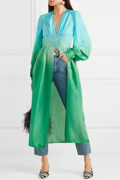 Аттика | Вырез ombré silk-habotai midi dress | NET-A-PORTER.COM