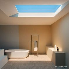 In what may be one of the most ground-breaking developments in creating artificial sunlight, a group of Italian scientists recently announced CoeLux, a new kind of skylight that perfectly mimics the feel of daylight Interior Design Examples, Interior Design Inspiration, Design Ideas, Bad Inspiration, Bathroom Inspiration, Artificial Sunlight, Plafond Design, Nordic Lights, Interior Minimalista