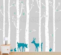 Birch Tree Wall Decal, Birch Trees, Birch Forest, Birch Tree Wall Decal with Deer and Bunnies for Birch Nursery, Kids or Childrens Room 011