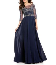 Terani Couture Sweetheart Neck 3/4 Sleeve Beaded Bodice Chiffon Gown | Dillards