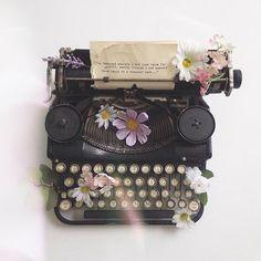 flowers on a typewriter