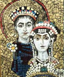 Justinian was the great emperor of Byzantine. He was very influenced by his wife, Theodora, who pushed for expansion. He attempted to reconquer Western territory but without lasting success. Empire Romain, Byzantine Art, Roman History, Kaiser, Dark Ages, Roman Empire, Middle Ages, Archaeology, Old Things
