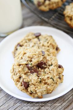 Zucchini Coconut Chocolate Chip Cookies on twopeasandtheirpod.com We love these cookies!