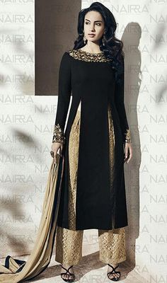 Black Color Georgette Embroidered Palazzo Suit