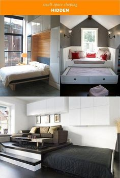 Small Space Sleeping Solutions Small Space Sleeping Solutions Kicki irchenk For Home HIDE IT Make use of unused space or get creative with your nbsp hellip room office combo murphy bed Furniture, Bed In Living Room, Hidden Bed, Small Apartment Therapy, Apartment Therapy Small Spaces, Decorate Your Room, Furniture Choice, Living Room Designs, Murphy Bed Ikea