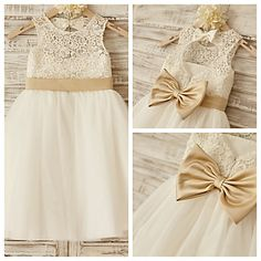 Princess Knee-length Flower Girl Dress - Lace/Tulle Sleeveless – USD $ 54.99