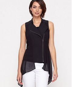 Stand Collar Asymmetrical Silk Vest in Black by Eileen Fisher Eileen Fischer, Edgy Chic, Black Zip Ups, Asymmetrical Tops, Elegant Outfit, Shirt Outfit, Fashion Outfits, Fashion Trends, Fisher