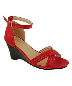 Red Monica Wedge Sandal