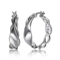 Ss Rhod Dc Web Hoop Earring Hoop Earrings