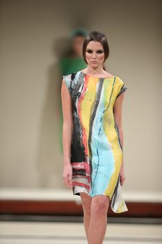Paintbox silk and wool shift dress by Goddess and Swift designed in United Kingdom