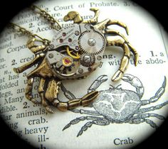 """Steampunk Crab Necklace"" from CosmicFirefly @ etsy.com"