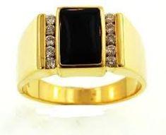Image result for mens black coral diamond ring