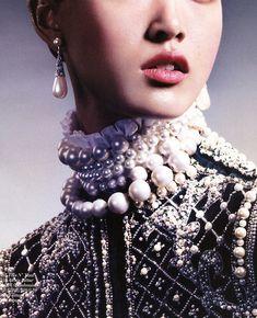 balmain f/w 2012 rtw, tian yi in the air of opulence by david slijper for vogue china