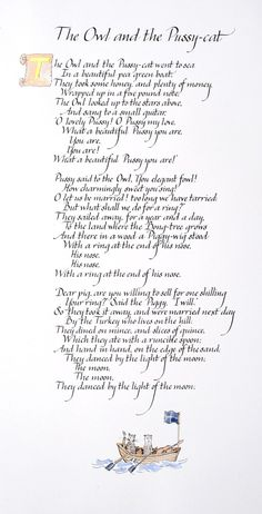 The Owl and the Pussycat poem in handwritten by Calligraphystore