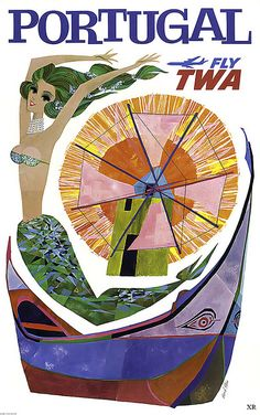Fly TWA to Portugal. A classic 1960s travel poster from the now defunct airline