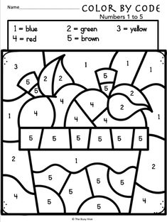Color By Code Apple Worksheets – Kindergarten Math – Numbers 1 to for Fall Math Practice!Use the color key to color each page. There… Color By Code Apple Worksheets – Kindergarten Math – Numbers 1 to 5 Coloring Worksheets For Kindergarten, Kindergarten Colors, Numbers Kindergarten, Kindergarten Math Activities, Math Numbers, Color By Numbers, English Kindergarten, Fall Preschool, Math Practices