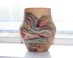 Vintage Nemadji Pottery Vase Swirl Pottery